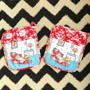 Red and Light Blue Pot Holders